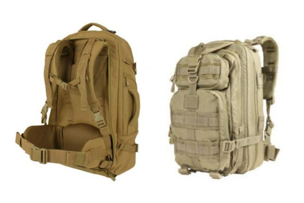 brown and cam military tactical gear bags and backpacks