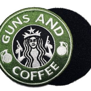 "Guns and Coffee Velcro Patch - 3.5"" Green"