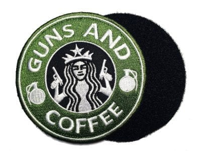 """Guns and Coffee Velcro Patch - 3.5"""" Green"""
